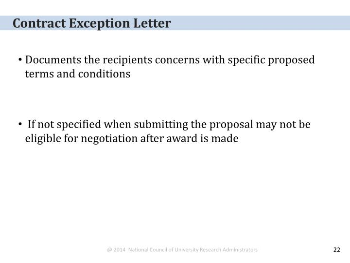 Contract Exception Letter