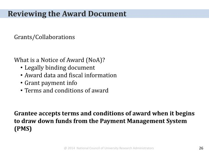 Reviewing the Award Document