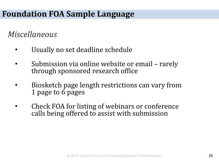 Foundation FOA Sample