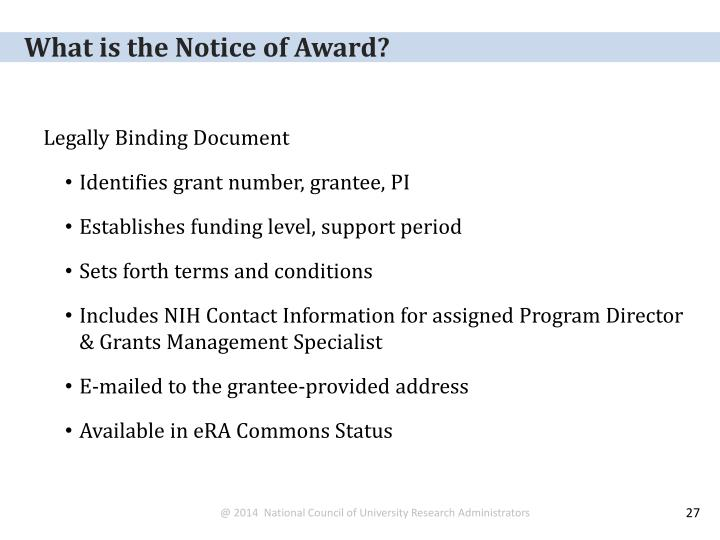 What is the Notice of Award?