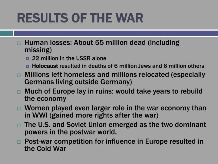 RESULTS OF THE WAR