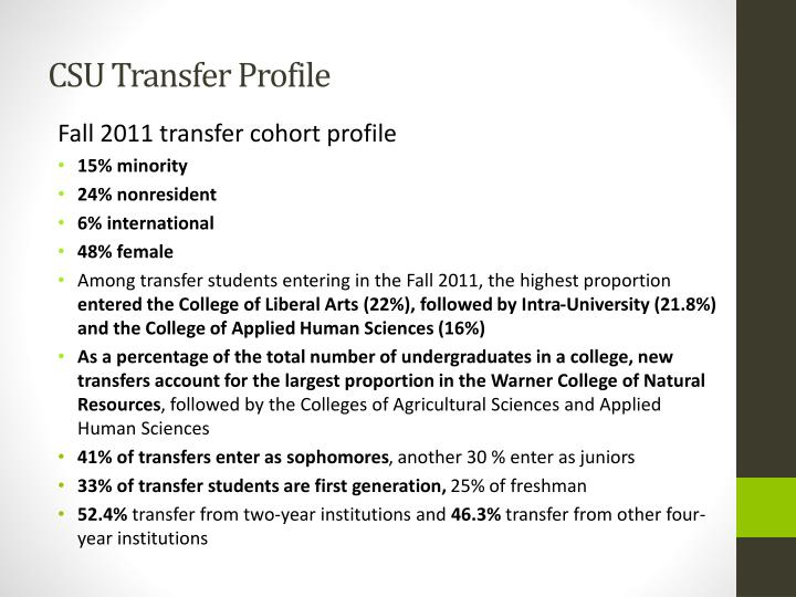 CSU Transfer Profile