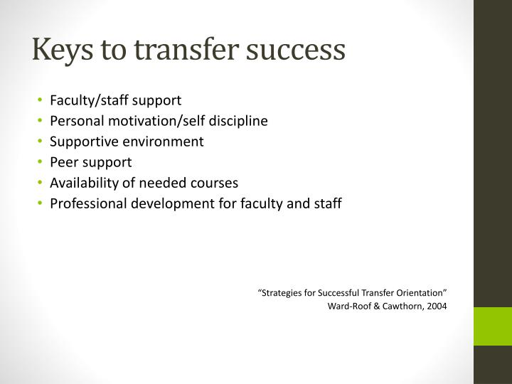 Keys to transfer success