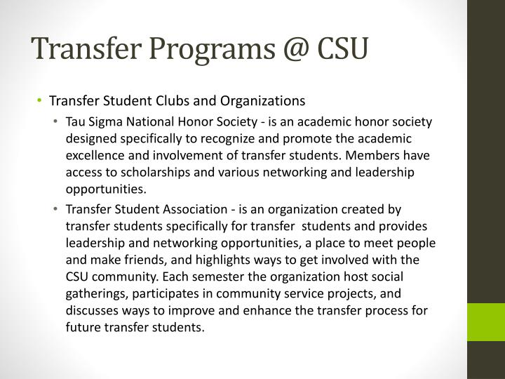 Transfer Programs @ CSU