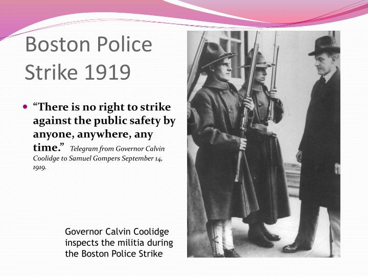 essays on boston police strike of 1919 Order details/description research paper 9 pages in length with 8 references paper should discuss: brief history of police dept administrators role of afl police grievances brief description of violence outcome of strike to order now, click the link below: we can also assist you with similar orders at highly discounted rates.