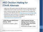 ard decision making for staar alternate1