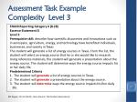 assessment task example complexity level 3