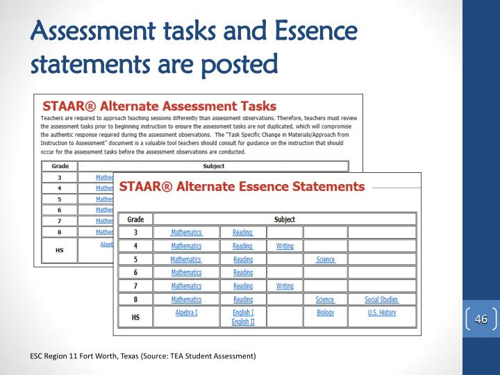 Assessment tasks and Essence statements are posted