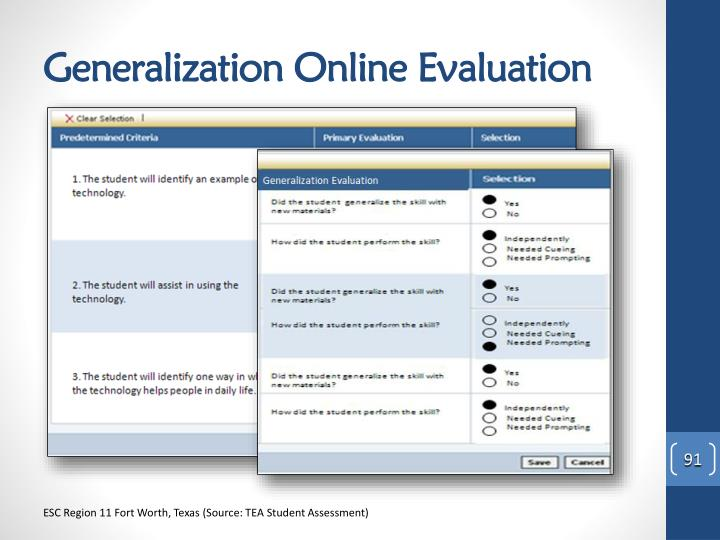 Generalization Online Evaluation