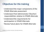 objectives for this training