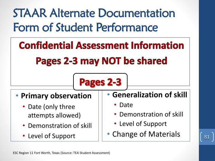 STAAR Alternate Documentation Form of Student Performance