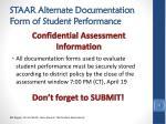 staar alternate documentation form of student performance3