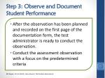 step 3 observe and document student performance