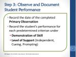 step 3 observe and document student performance1