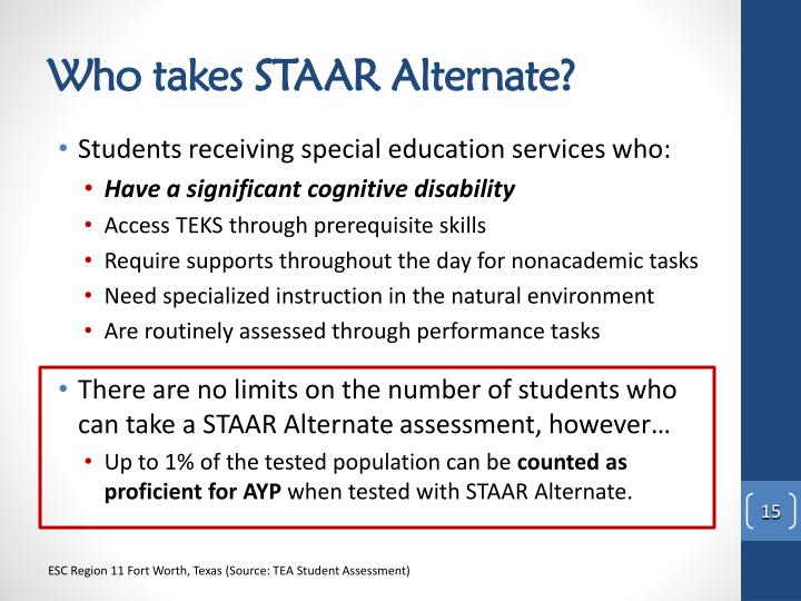 Who takes STAAR Alternate?