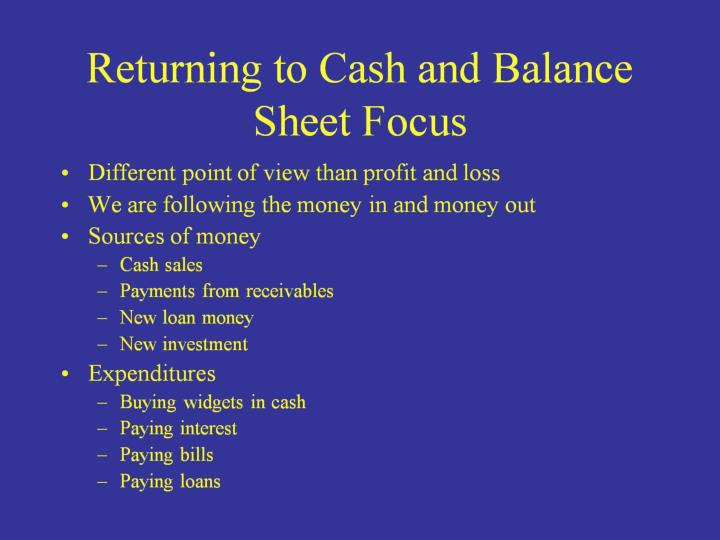 Returning to Cash and Balance Sheet Focus