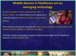 mobile devices in healthcare are an emerging technology