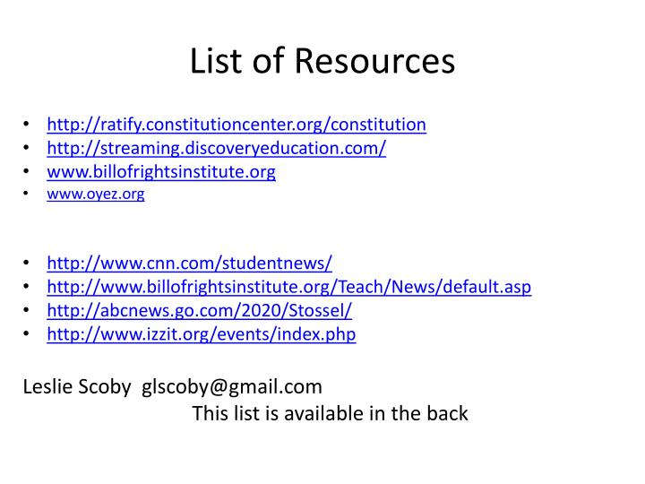 List of Resources