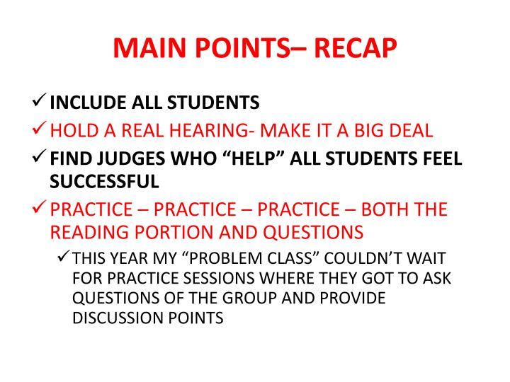 MAIN POINTS– RECAP