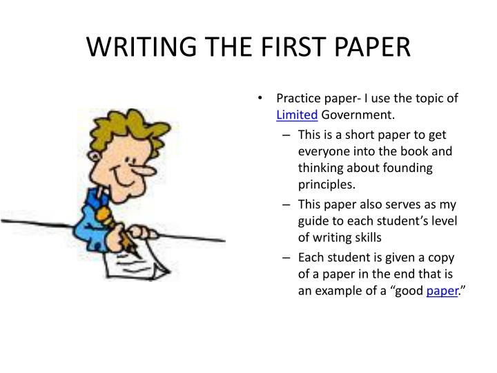 WRITING THE FIRST PAPER