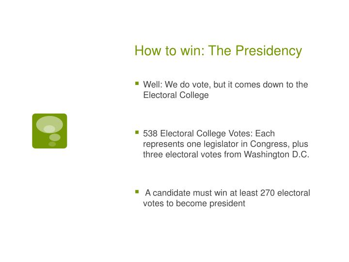 How to win: The Presidency