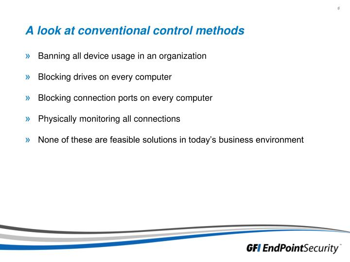 A look at conventional control methods