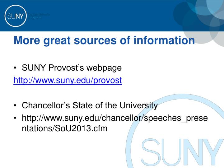 More great sources of information