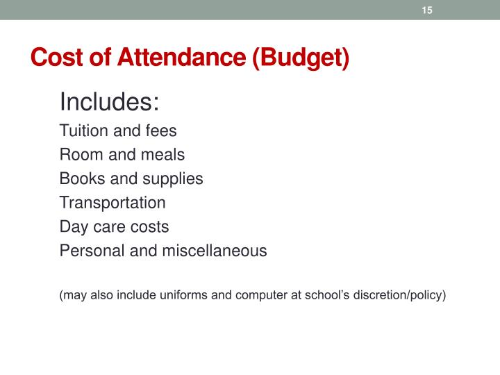 Cost of Attendance (Budget)