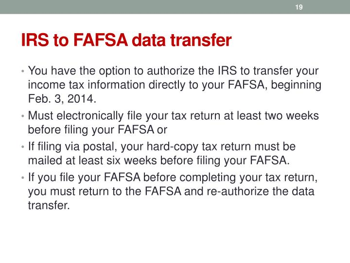 IRS to FAFSA data transfer