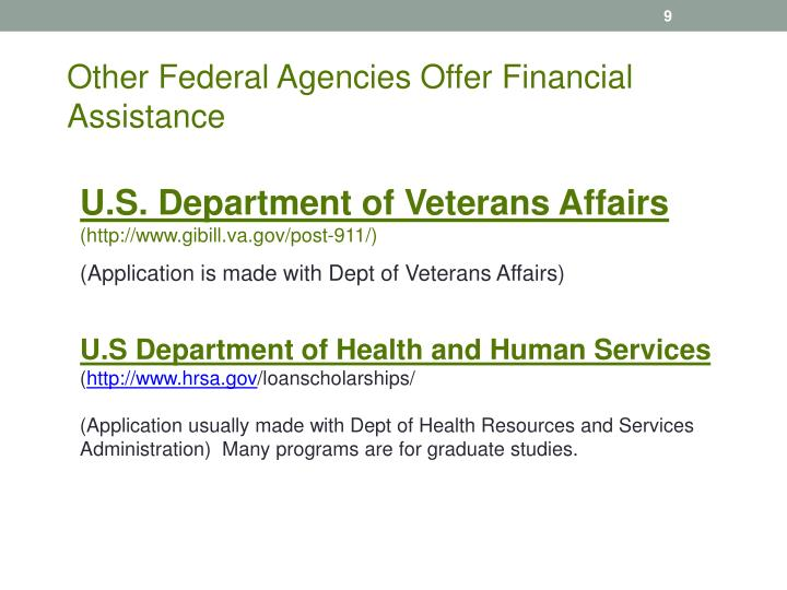 Other Federal Agencies Offer Financial Assistance