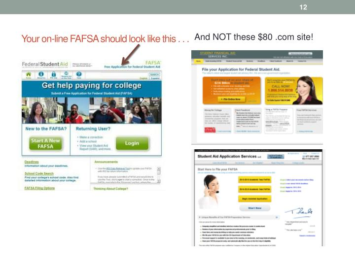 Your on-line FAFSA should look like this . . .