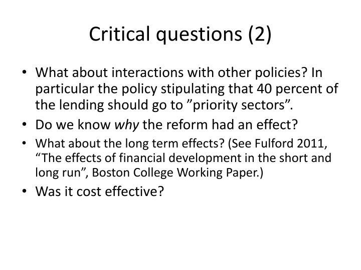Critical questions (2)