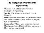 the mongolian microfinance experiment