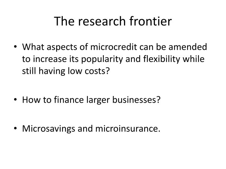 The research frontier