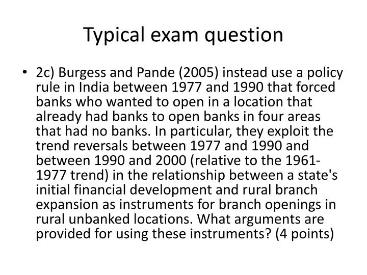 Typical exam question