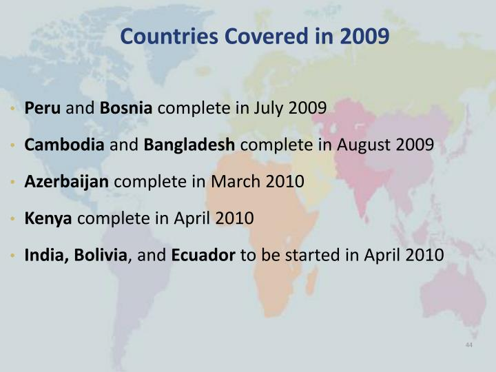 Countries Covered in 2009