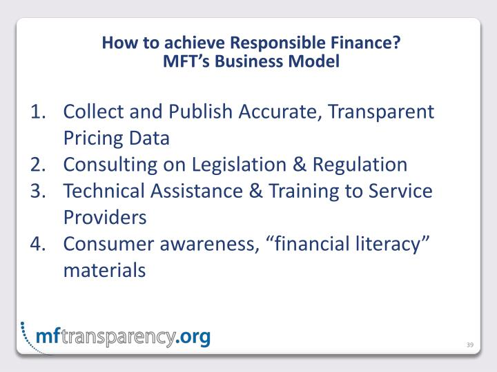 How to achieve Responsible Finance?