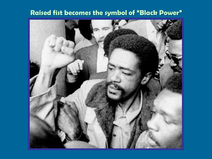 "Raised fist becomes the symbol of ""Black Power"""