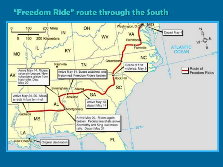 """Freedom Ride"" route through the South"