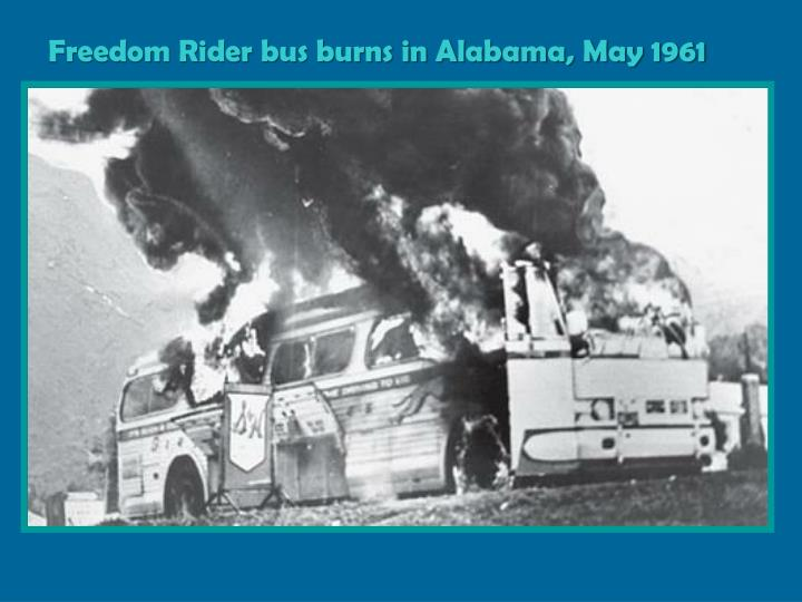 Freedom Rider bus burns in Alabama, May 1961