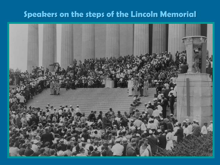 Speakers on the steps of the Lincoln Memorial