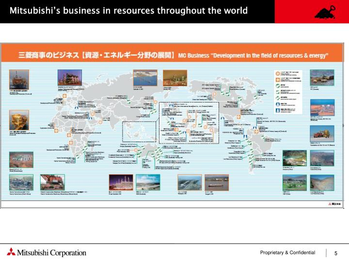 Mitsubishi's business in resources throughout the world