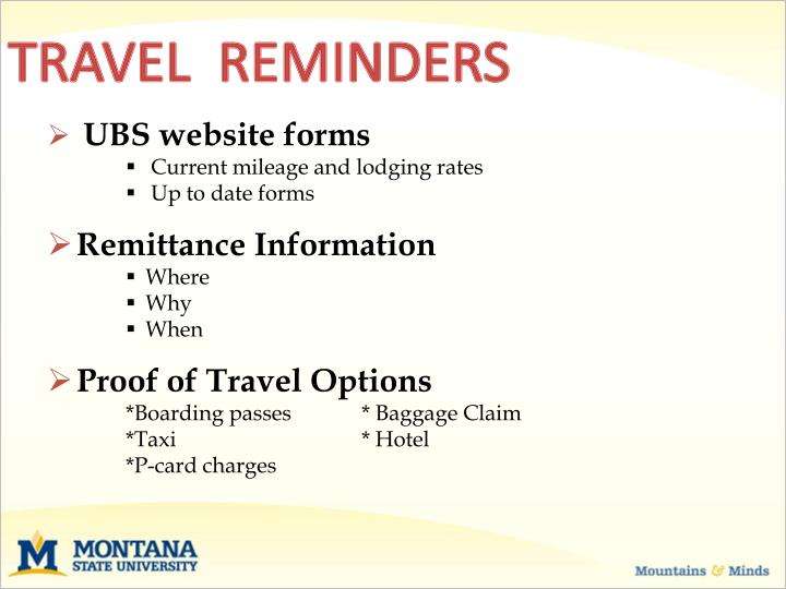 TRAVEL  REMINDERS