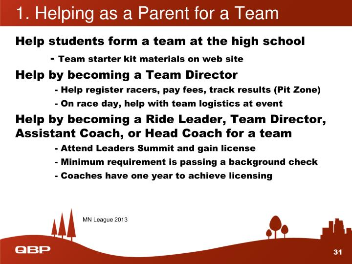 1. Helping as a Parent for a Team