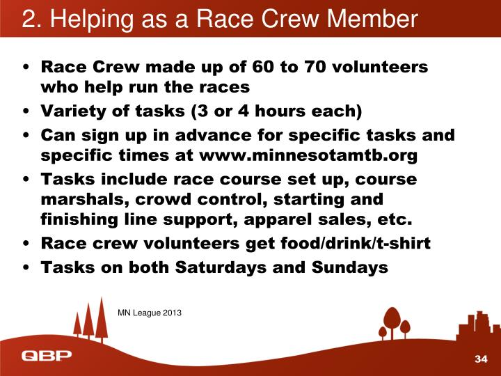 2. Helping as a Race Crew Member
