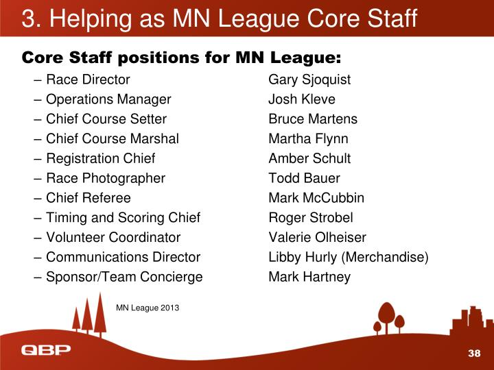 3. Helping as MN League Core Staff