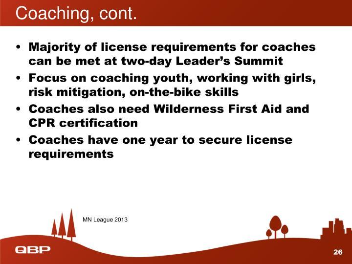 Coaching, cont.