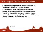 mn league teams need sponsors