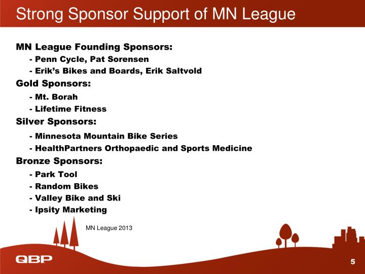 Strong Sponsor Support of MN League