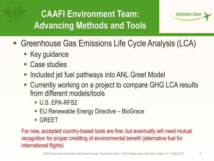 CAAFI Environment Team:
